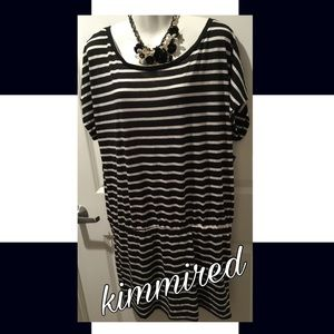 🆕 Black/White Striped Shirt Dress ~ XXL ~ NWT